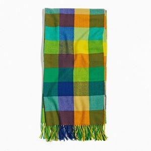Plaid knit Scarf with fringe